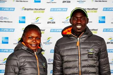 Defending champions Peninah Wanjiru and Duncan Maiyo at the pre-race press conference for the 2016 Brighton Marathon (Organisers)