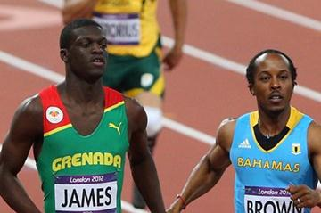 Chris Brown of the Bahamas and Kirani James of Grenada lead the pack during the Men's 400m semifinal on Day 9 of the London 2012 Olympic Games on 5 August 2012 (Getty Images)