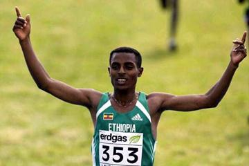 Bekele's short course victory salute in Lausanne (Getty Images)