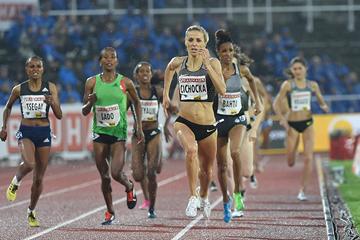 Angelika Cichocka wins the 1500m at the IAAF Diamond League meeting in Stockholm (Hasse Sjogren)