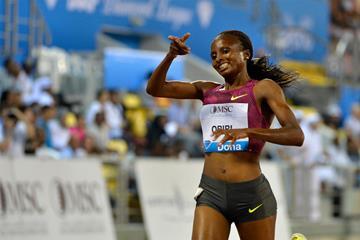 Hellen Obiri wins the 3000m at the IAAF Diamond League meeting in Doha (Deca Text & Bild)