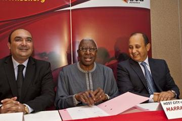 Signing ceremony for the 2014 Continental Cup, which will be hosted by Marrakech: from left, Moncef Belkhayat, Minister of Youth and Sport; IAAF President Lamine Diack; Abdeslam Ahizoune, President of Moroccan Federation (Philippe Fitte)