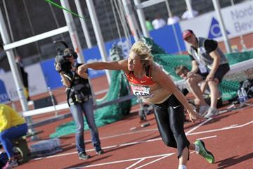 Christina Obergföll launches a world-leading 66.22m in Stockholm (Deca Text&Bild)