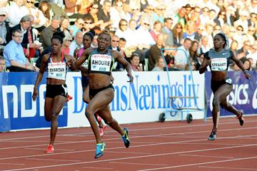 Murielle Ahoure takes the 200m in Oslo (Mark Shearman)