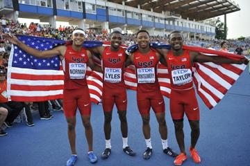The victorious US 4x100m team at the IAAF World U20 Championships Bydgoszcz 2016 (Getty Images)