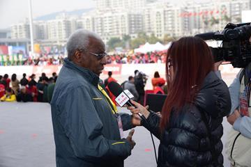 IAAF President Diack being interviewed by Chinese TV at the 2014 Xiamen International Marathon (IAAF)