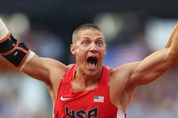 Trey Hardee of the United States is very pleased with his throw in the Men's Decathlon Javelin Throw on Day 13 of the London 2012 Olympic Games  on August 9, 2012 (Getty Images)