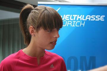 Blanka Vlasic at the pre-meet press conference in Zurich (Bob Ramsak)