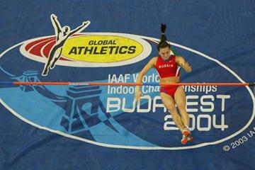 Yelena Isinbayeva of Russia after attempting to clear 5m in Budapest (Getty Images)