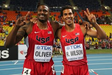 David Oliver and Ryan Wilson in the mens 110m Hurdles at the IAAF World Athletics Championships Moscow 2013 (Getty Images)
