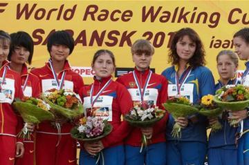 The women's junior team podium: Russia, China and Ukraine (Getty Images)