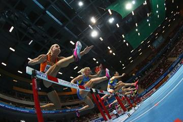 The women's pentathlon 60m hurdles at the 2014 IAAF World Indoor Championships in Sopot (Getty Images)