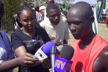 Luke Kibet at the Kenyan Prisons cross country championships (Omulo Okoth)