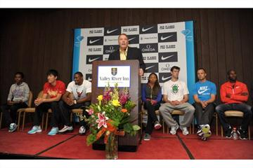 Eugene Press Conference - 3 June - (Left to right) Tirunesh Dibaba, Liu Xiang, David Oliver – Tom Jordon (meet director) – Allyson Felix, Andrew Wheating, Ashton Eaton, Bernard Lagat (Kirby Lee)