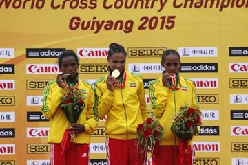 The junior women's medallists at the IAAF World Cross Country Championships, Guiyang 2015 (Getty Images)