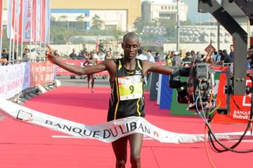 William Kipsang winning at the 2013 International Beirut Marathon  (Organisers)