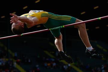 Australia's David Thomson in the decathlon high jump at the 2014 IAAF World Junior Championships in Eugene (Getty Images)