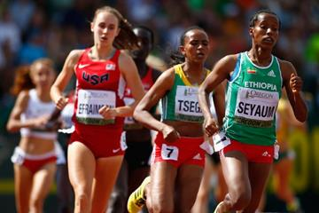 Dawit Seyaum leads the 1500m at the IAAF World Junior Championships, Oregon 2014 (Getty Images)