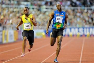 Tyson Gay en route to his big win over Usain Bolt in the Stockholm 100m (Deca Text&Bild)