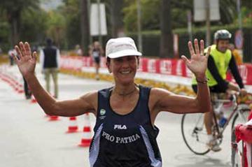 Lorena Di Vito winning the Palermo Supermarathon (Sean Wallace Jones)