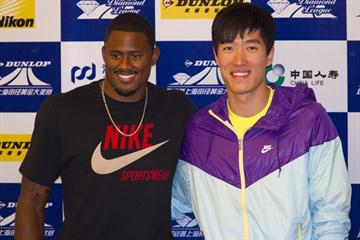 David Oliver and Liu Xiang at the Samsung Diamond League press conference in Shanghai, 14 May (Errol Anderson)