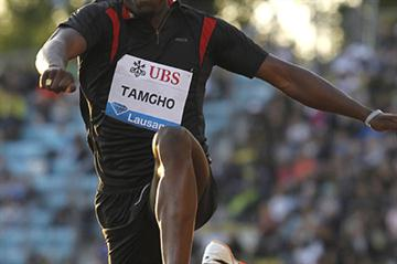 Teddy Tamgho triple jumping to 17.91m in Lausanne (Giancarlo Colombo)