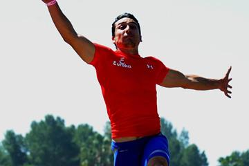 Mexican long jumper Luis Rivera at the 2013 Mt SAC Relays (Randy Miyazaki / trackandfieldphoto.com)