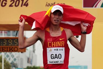 Gao Wenkui after winning the junior men's 10km at the 2014 IAAF World Race Walking Cup (Getty Images)
