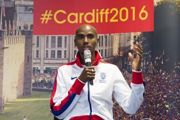 Mo Farah at the press conference for the IAAF/Cardiff University World Half Marathon Championships Cardiff 2016 (Getty Images)