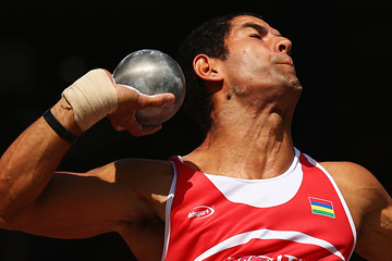 Guillaume Thierry of Mauritius in the decathlon shot put (Getty Images)