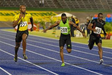 Asafa Powell secures his Daegu ticket in Kingston, taking the national 100m title over Yohan Blake and Steve Mullings (Anthony Foster)