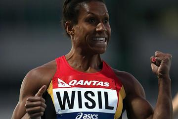 Toea Wisil of Papua-New Guinea celebrates her sprint double in Melbourne (Getty Images)