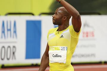 Kim Collins after winning the 60m (Pavel Lebeda)
