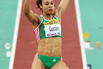 Naide Gomes of Portugal during the Long Jump qualifications (Getty Images)