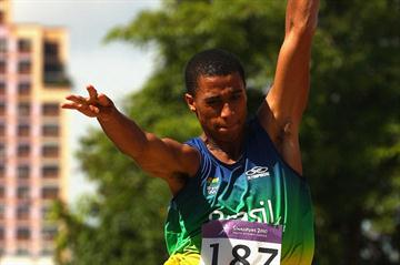 Caio Cezar dos Santos of Brazil soars to Long Jump gold at the Youth Olympic Games (Getty Images)