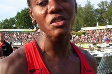 Merlene Ottey after winning the 100m in Hengelo (Willem Pfeiffer)
