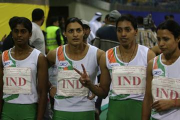 The Indian 4x400m women's team after setting a new Asian record 3:37.36 (Rahul Pawar)