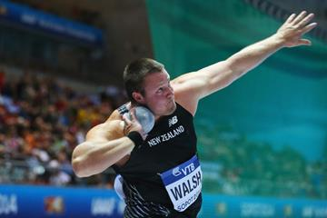 Tom Walsh in shot put qualifying at the 2014 IAAF World Indoor Championships in Sopot (Getty Images)