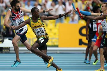 Jamaica team in the mens 4x400 relay at the IAAF World Athletics Championships Moscow 2013 (Getty Images)
