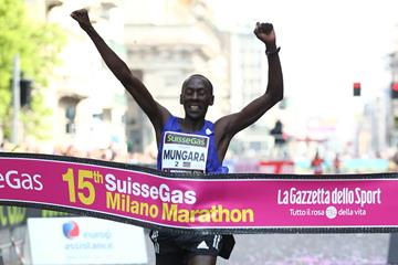 Kenneth Mungara winning at the 2015 Milano Marathon (Giancarlo Colombo / organisers)