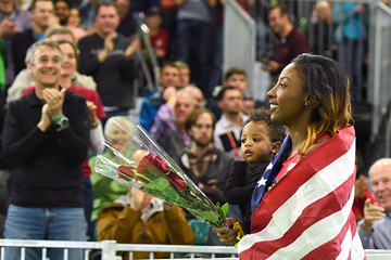 Nia Ali after winning the 60m hurdles at the IAAF World Indoor Championships Portland 2016 (AFP / Getty Images)