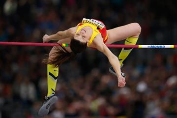 Ruth Beitia in the high jump at the IAAF World Indoor Championships Portland 2016 (Getty Images)