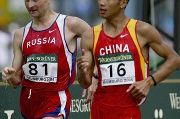 Caohong Yu with Aleksey Voyevodin in Naumburg 50km (Getty Images)