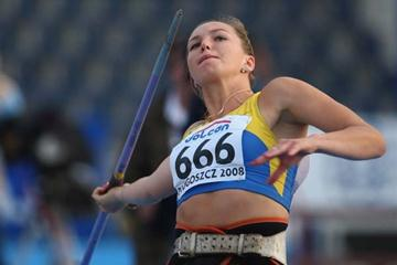 Vira Rebryk of Ukraine on her way to winning the Women's Javelin Final (Getty Images)