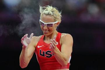 Becky Holliday of the United States reacts after clearing the bar in the Women's Pole Vault final on Day 10 of the London 2012 Olympic Games at the Olympic Stadium on 6 August 2012 (Getty Images)