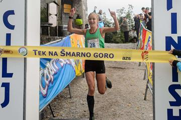 Sara Tunstall winning at the 2015 Smarna Gora International Mountain Running Race (Organisers)