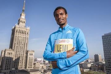 Hayle Lemi Berhanu ahead of the 2015 Warsaw Marathon (organisers)