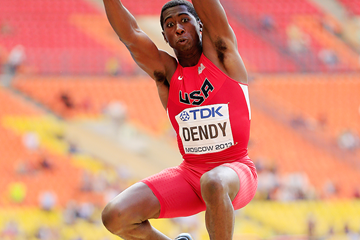 USA's Marquis Dendy in the long jump at the IAAF World Championships (Getty Images)