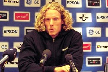 Steve Hooker at the pre-meeting press conference in Stockholm (Lennart Julin)