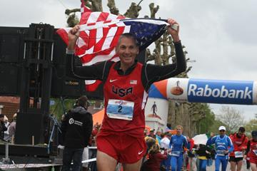 USA's Jon Olsen after winning the 2013 IAU 24 Hour World Championships (IAU)